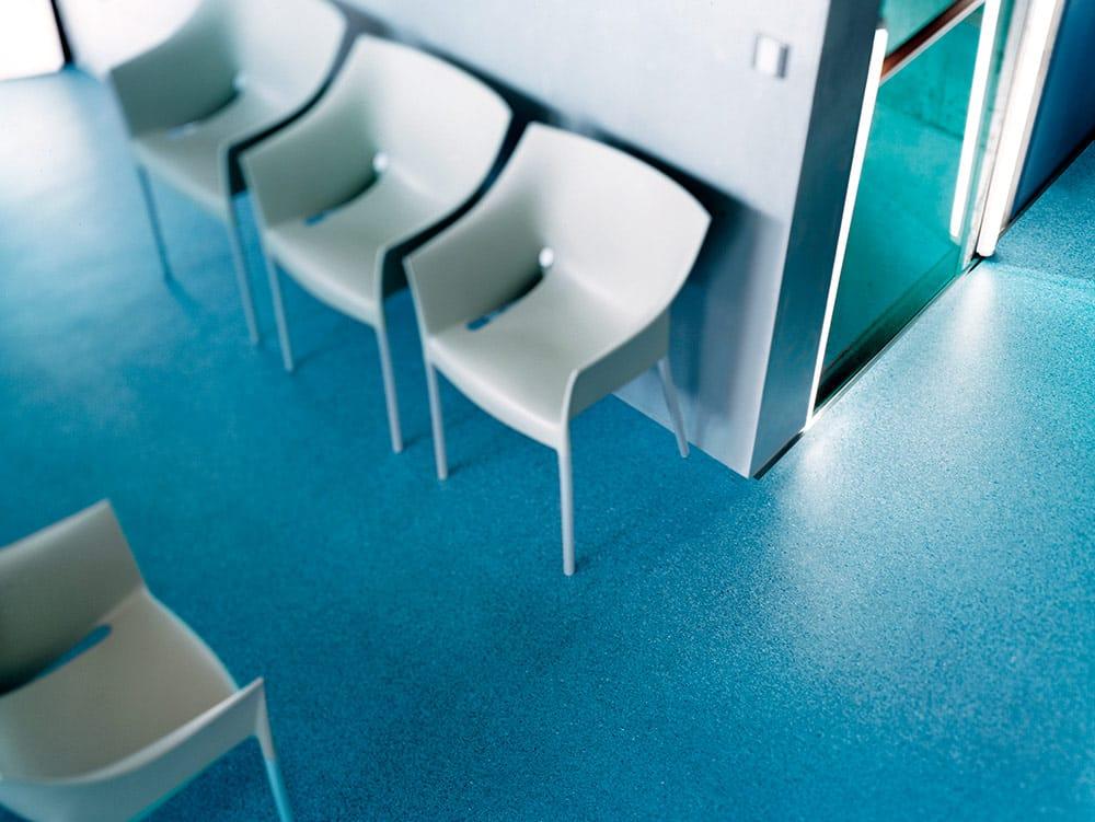 et billede af et blåt vinylgulv